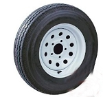 14 inch White Modular Trailer Wheel and 205/75R14 Trailer Tire Assembly  R14WM