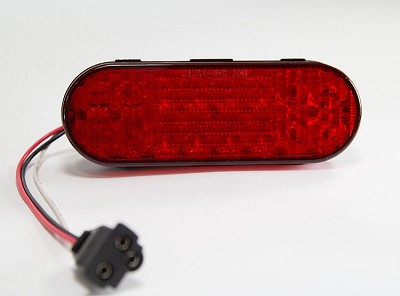 Red 6 inch Oval LED Stop Turn Tail Trailer Light incl. Harness