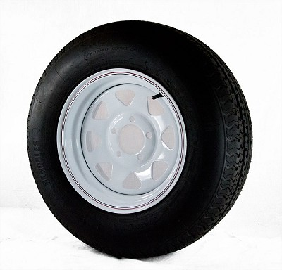 ST205/75R14 Hercules Radial Trailer Tire 1760 lb Max Load mounted on 14x6 White Steel Spoke Trailer Rim, 5x4.50 Bolt Pattern