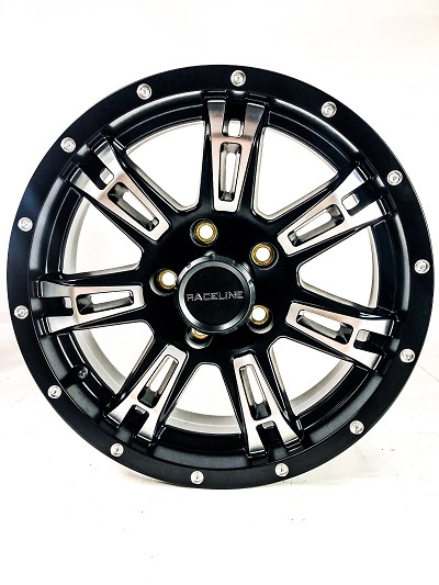 15x5 840 Arsenal Matte Black Machined Aluminum Trailer Wheel 5x4.5