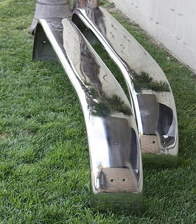 Polished Stainless Steel Triple Axle Trailer Fenders 14 Gauge, 9 x 102 x 17 inch (pair)