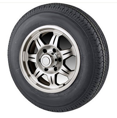 ST175/80R13 Radial Trailer Tire with 13 inch 5 Lug SAWTOOTH Aluminum Trailer Wheel