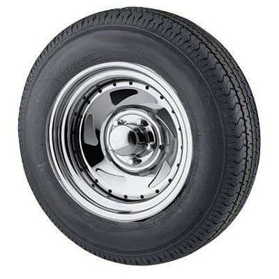 ST205/75R14 Radial Trailer Tire mounted on Chrome Blade Trailer Wheel 5 lug By U.S Wheel