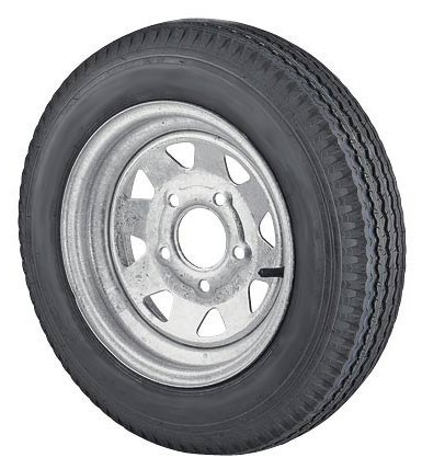 12 x 4 Galvanized Steel Spoke Trailer Wheel 4 Lug w/ 5.30-12 LR C Trailer Tire Mounted