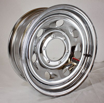 15 x 6 Chrome Comet/Tailgunner Steel Trailer Wheel 6 on 5.50, Load Capacity 2,850 By U.S Wheel.