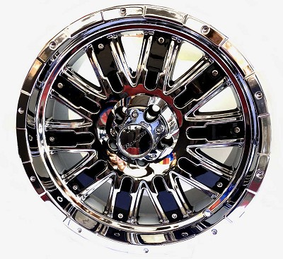 18x8.5 HELO Chrome with Black Accent Wheel 5x4.5 2500 Lb Load Capacity