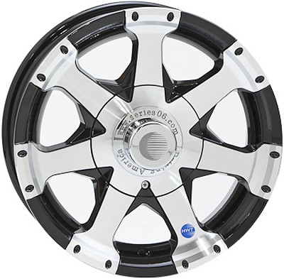 14 x 5.5 HiSpec Black Series 6 Trailer Wheel 5 on 4.50 with Center Cap