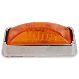 Amber Sealed LED Marker/Clearance Light with Chrome Base and Plug #MCL-91AK