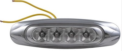 Sealed, Miro-Flex, Marker/Clearance/ID Light, Chrome Cover, 2 Wire, 4 Amber LEDs/Clear Lens