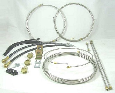 20 ft Stainless Steel (SS), Tandem Axle Hydraulic Drum Brake Line Kit