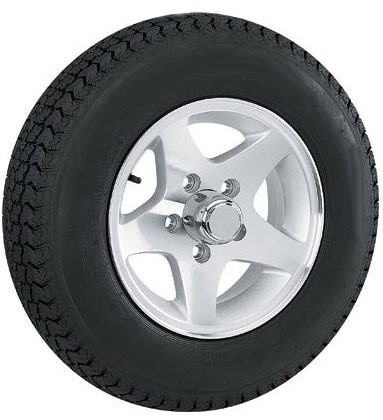 12 x 4 Aluminum Star Trailer Wheel 5 Lug w/ 5.30-12 LR C Trailer Tire Mounted