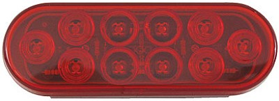 Red 6 inch Oval LED Stop Turn Tail Trailer Light, PL-3 connection #STL72RB