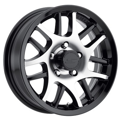 14x5.5 T15 Sendel Gloss Black Machined Aluminum Trailer Wheel 5x4.5