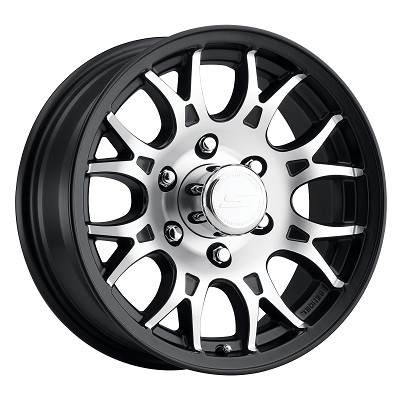 16x6.5 T16 Matte Black Machined Aluminum Sendel Trailer Wheel 6x5.50