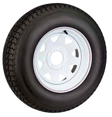 12 x 4 White Steel Spoke Trailer Wheel 5 Lug w/ 5.30-12 LR D Trailer Tire Mounted